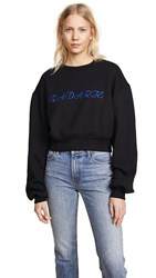 Rodarte Cropped Radarte La Paris Sweatshirt Black Blue