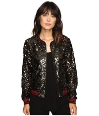 Sanctuary Sequins Bomber Jacket Gunmetal Women's Coat Gray
