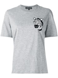 Markus Lupfer 'Embellished Zebra Head Alex' T Shirt Grey