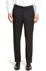 Men's Incotex Flat Front Solid Wool Trousers