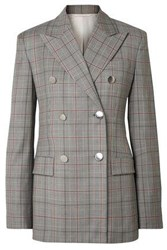 Calvin Klein 205W39nyc Woman Double Breasted Prince Of Wales Checked Wool Blazer Gray
