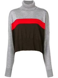 Marios Cropped Striped Sweater Grey