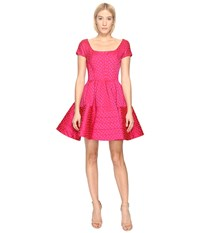 Zac Posen Party Jacquard Cap Sleeve Dress Hibiscus Fuchsia Women's Dress Pink
