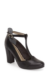 Women's Seychelles 'Trumpet' T Strap Pump Black Leather