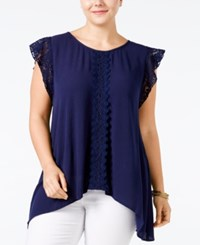 Eyeshadow Plus Size Lace Trim Crepe Top Moonlight