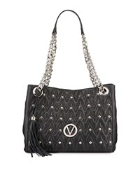 Valentino By Mario Valentino Luisa Sauvage Quilted Leather Tote Bag Black