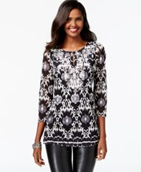 Inc International Concepts Printed Embroidered Tunic