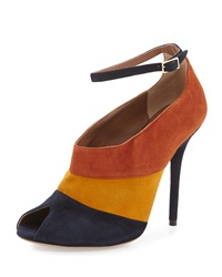 Malone Souliers Sheila Colorblock Suede Peep Toe Pump