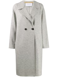 Harris Wharf London Double Breasted Fitted Coat Grey