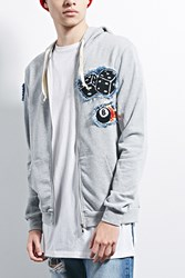 Forever 21 Happiness Iconic Patch Hoodie Heather Grey