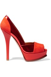 The Fendista Suede And Metallic Leather Platform Pumps Orange