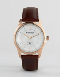 Barbour Mortimer Leather Watch In Brown Brown