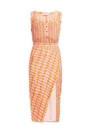 Altuzarra Eleonora Gingham Print Silk Midi Dress Orange Multi