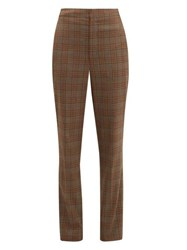 Tibi James Checked Tapered Trousers Brown