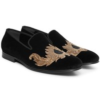Alexander Mcqueen Beaded Velvet Slippers Black
