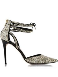 Lucy Choi London Galinda Glitter Ankle Strap Heels Gold