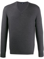 Fay V Neck Jumper Grey