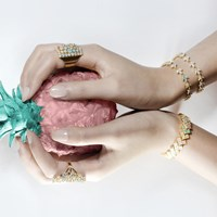 Cielle London Spring Snow Statement Cocktail Ring Blue Gold Green