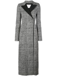 Carolina Herrera Houndstooth Long Coat Black