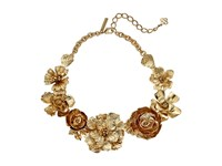 Oscar De La Renta Bold Flower Necklace Light Gold Necklace