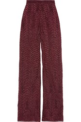 M Missoni Metallic Crochet Knit Wide Leg Pants Red