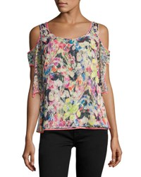 Jason Wu Crinkled Chiffon Cold Shoulder Top Multi