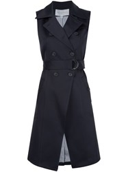Veronica Beard Sleeveless Trench Coat Blue