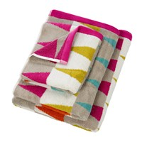 Harlequin Azul Towel Lagoon And Cerise Blue Pink Yellow Neutral