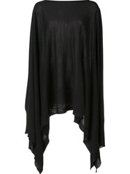 Rick Owens Knitted Poncho Black