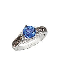 Le Vian Vanilla Diamond Chocolate Diamond Tanzanite And 14K White Gold Ring Blue