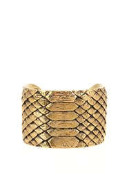 Saint Laurent Python Effect Brass Cuff Yellow Gold