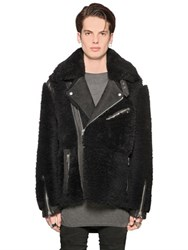 Diesel Black Gold Shearling Oversized Biker Jacket