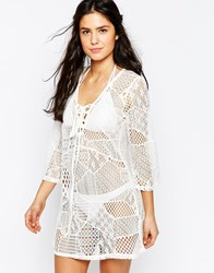 Liquorish Crochet Detail Kaftan White