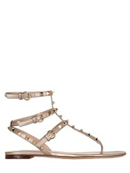 Valentino 10Mm Rockstud Metallic Leather Sandals