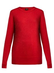 Joseph Metallic Wool Blend Sweater Red