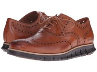 Cole Haan Zerogrand Wing Ox British Tan Java Men's Lace Up Wing Tip Shoes Beige