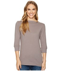 Allen Allen 3 4 Sleeve Boat Neck Medium Grey Women's Clothing Gray