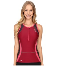 2Xu Perform Tri Singlet Barberry Carbon Purple Women's Clothing Red