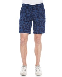 Alexa Chung For Ag Wanderer Inkwell Print Cotton Shorts Navy