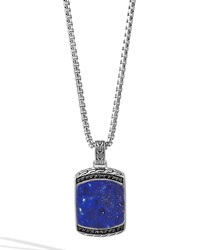 Men's Batu Classic Chain Lapis Dog Tag Pendant Necklace John Hardy