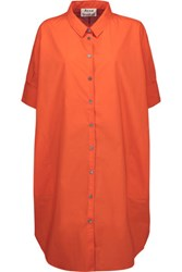 Acne Studios Tech Pop Cotton Poplin Shirt Dress Bright Orange