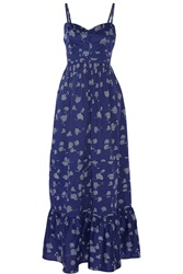 Band Of Outsiders Printed Cotton Maxi Dress Blue