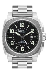 Nixon Men's Charger Gmt Bracelet Watch 44Mm Silver Black Silver