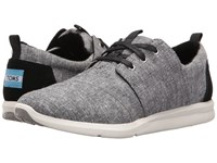 Toms Del Rey Sneaker Black Slub Chambray Women's Lace Up Casual Shoes Gray