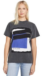 Anine Bing Georgie Blue Painting Tee Washed Black