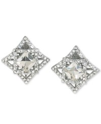 Carolee Silver Tone Geometric Crystal Clip On Earrings Clear