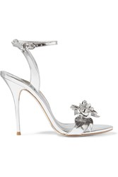 Sophia Webster Lilico Appliqued Metallic Leather Sandals Silver