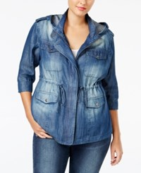 Standards And Practices Trendy Plus Size Denim Utility Jacket Medium Blue