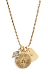 Treasure And Bond Women's Triple Charm Initial Pendant Necklace A Gold
