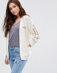 Maison Scotch Chunky Cable Knit Cardigan 03 Cream White